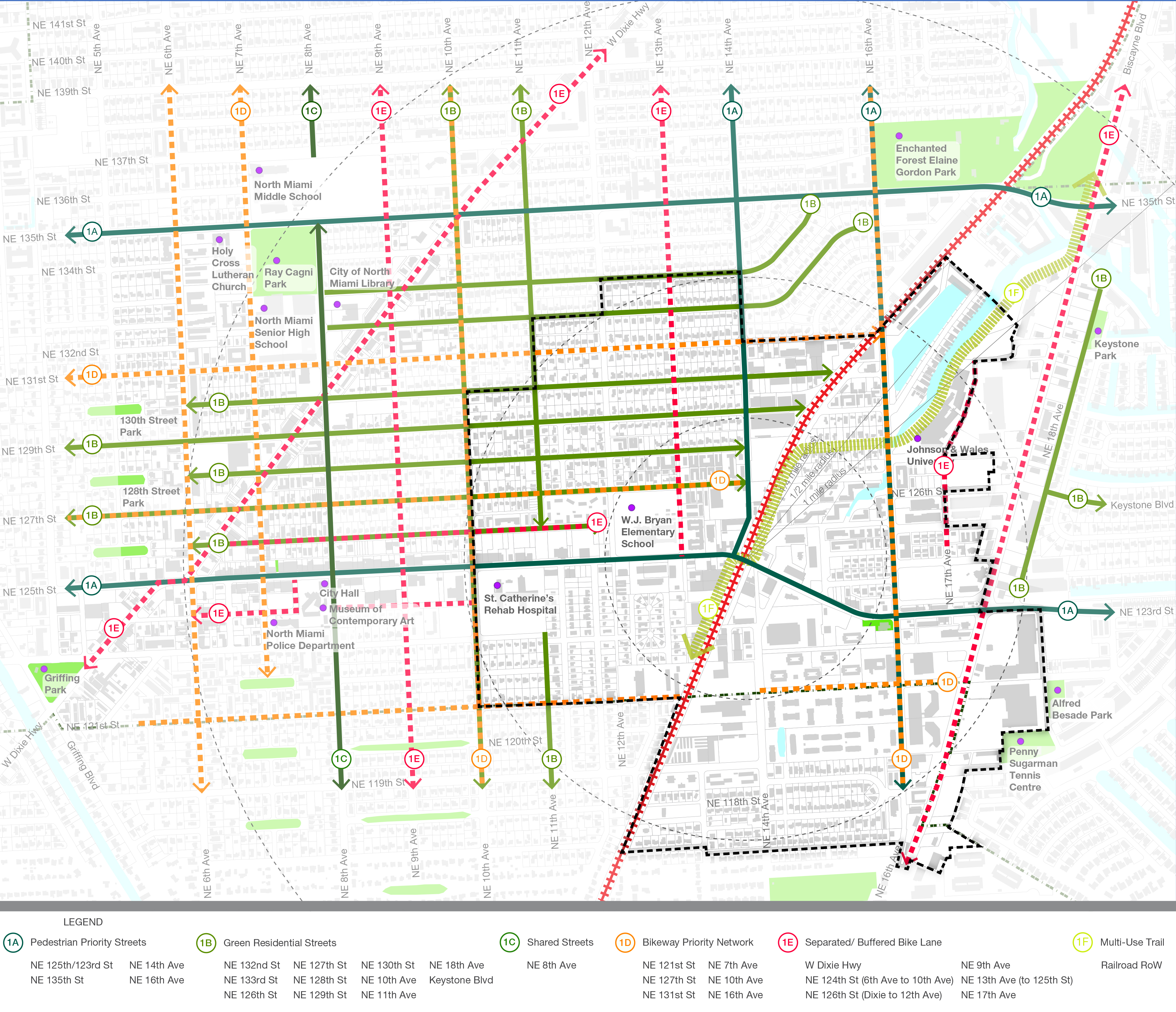 concept plan north miami mobility hubtypes to create a high quality, dedicated and safer network infrastructure connecting neighborhood destinations, transit hubs, and residential areas